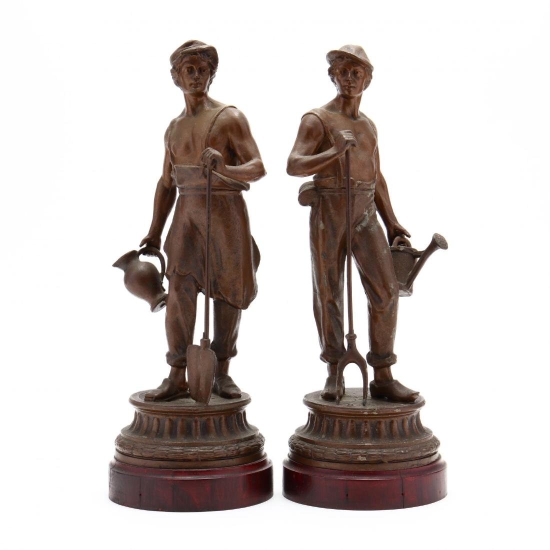 Pair of Antique Spelter Statues of Dutch Farmers
