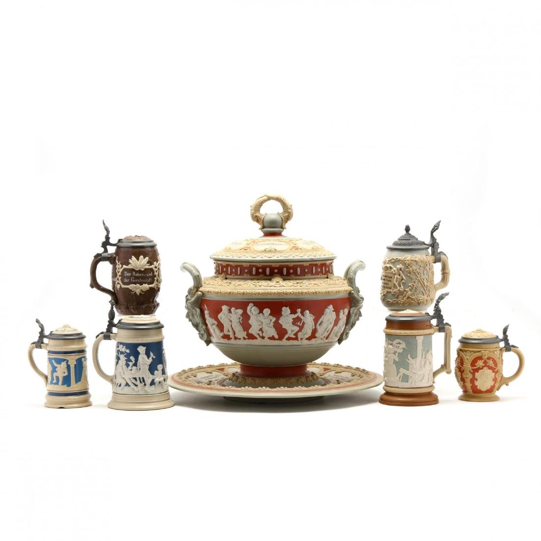 Seven Pieces of Mettlach Stoneware