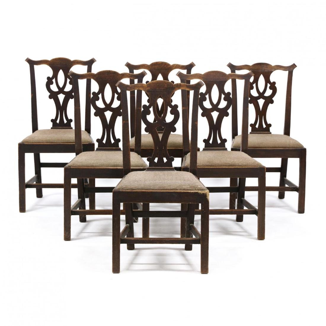 Antique Set of Six English Chippendale Style Oak Side