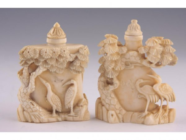 3: Two Ivory Snuff Bottles, Mid-Century,
