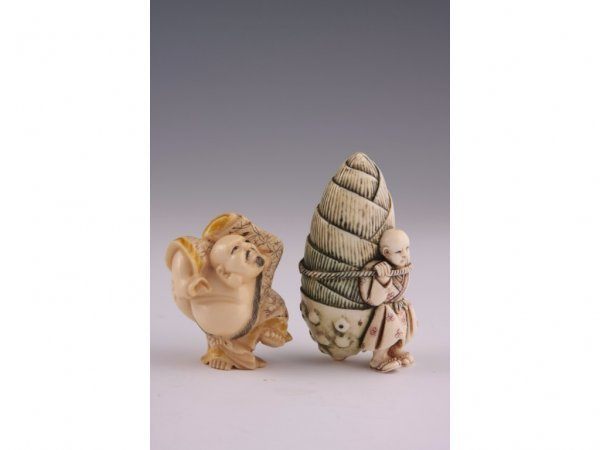 5: Netsuke Group of Two Carved Ivories,