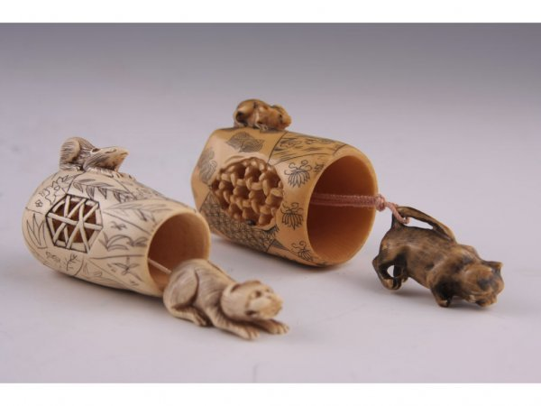 7: Two Netsuke Katabori Cat and Mouse Ivory,
