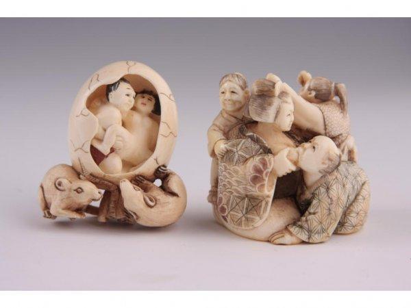 8: Two Netsuke Erotica Ivory,