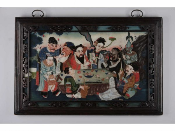 11: Antique Chinese Reverse Painting on Glass,