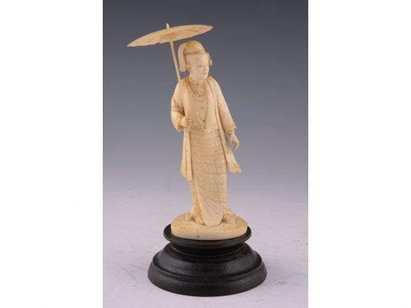 12: Antique Japanese Ivory Okimono of a Lady,