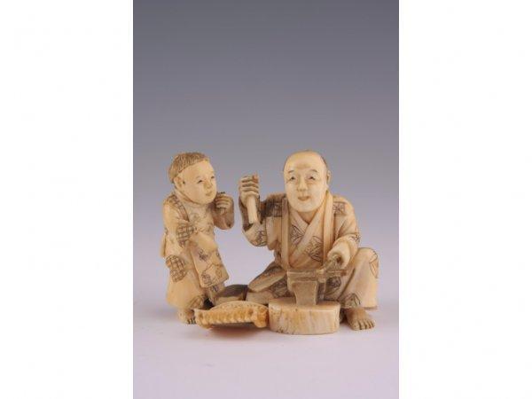 15: Antique Japanese Ivory Blacksmith Okimono,