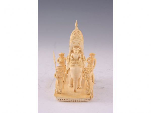 16: Antique Asian Ivory War Elephant Grouping,