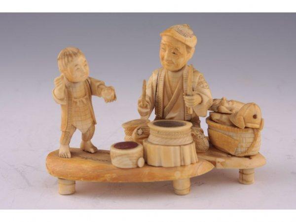 17: Antique Japanese Bone and Ivory Okimono,