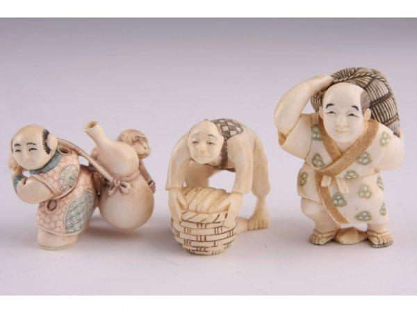 18: Three Netsuke Katabori Ivory,