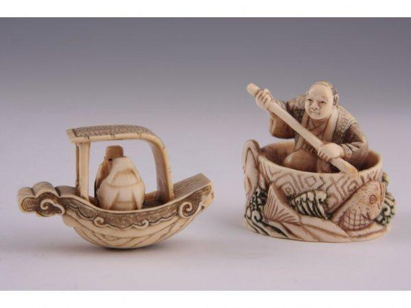 19: Two Netsuke Katabori Fisherman, Ivory,