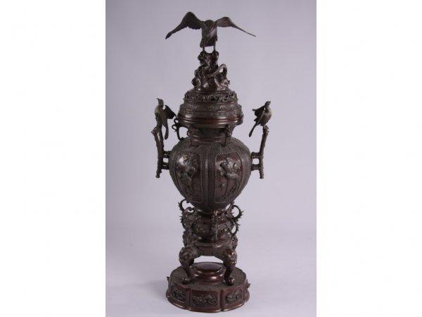 20: Antique Monumental Japanese Bronze Censor,