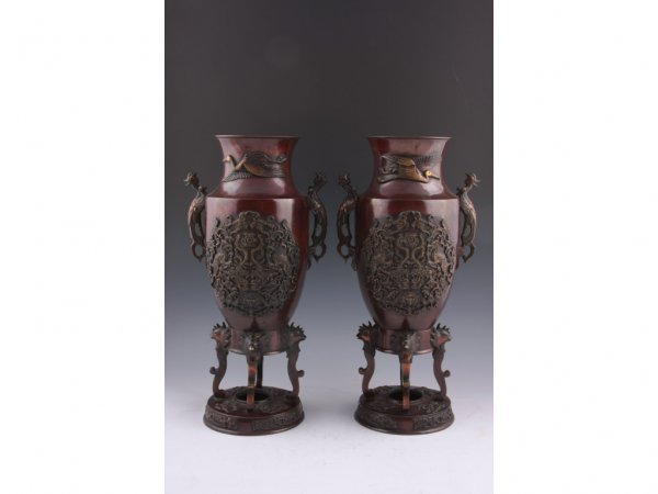 21: Pair of Japanese Footed Bronze Urns, 20th c.