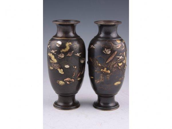 22: Pair of Japanese Bronze & Mixed Metal Vases,