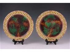 546 Pair of Wedgwood Majolica Plates ca 1870