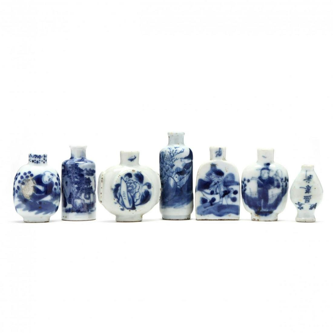 A Group of Seven Chinese Blue and White Porcelain