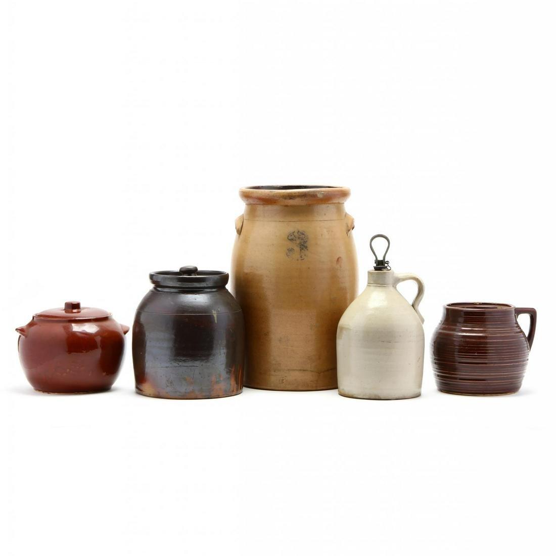 Five Pieces of Antique Stoneware