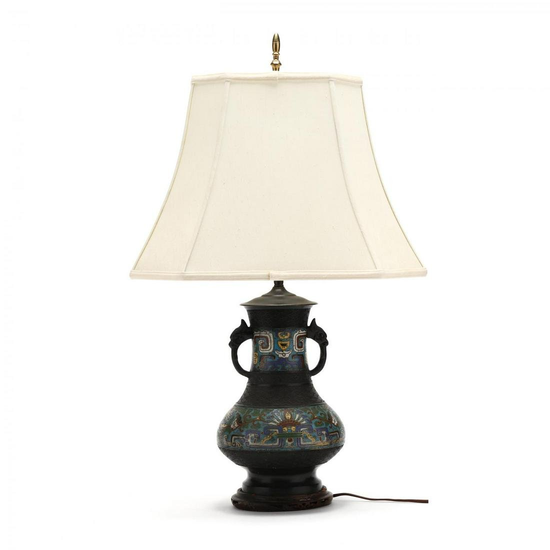 A Vintage Japanese Champleve Table Lamp