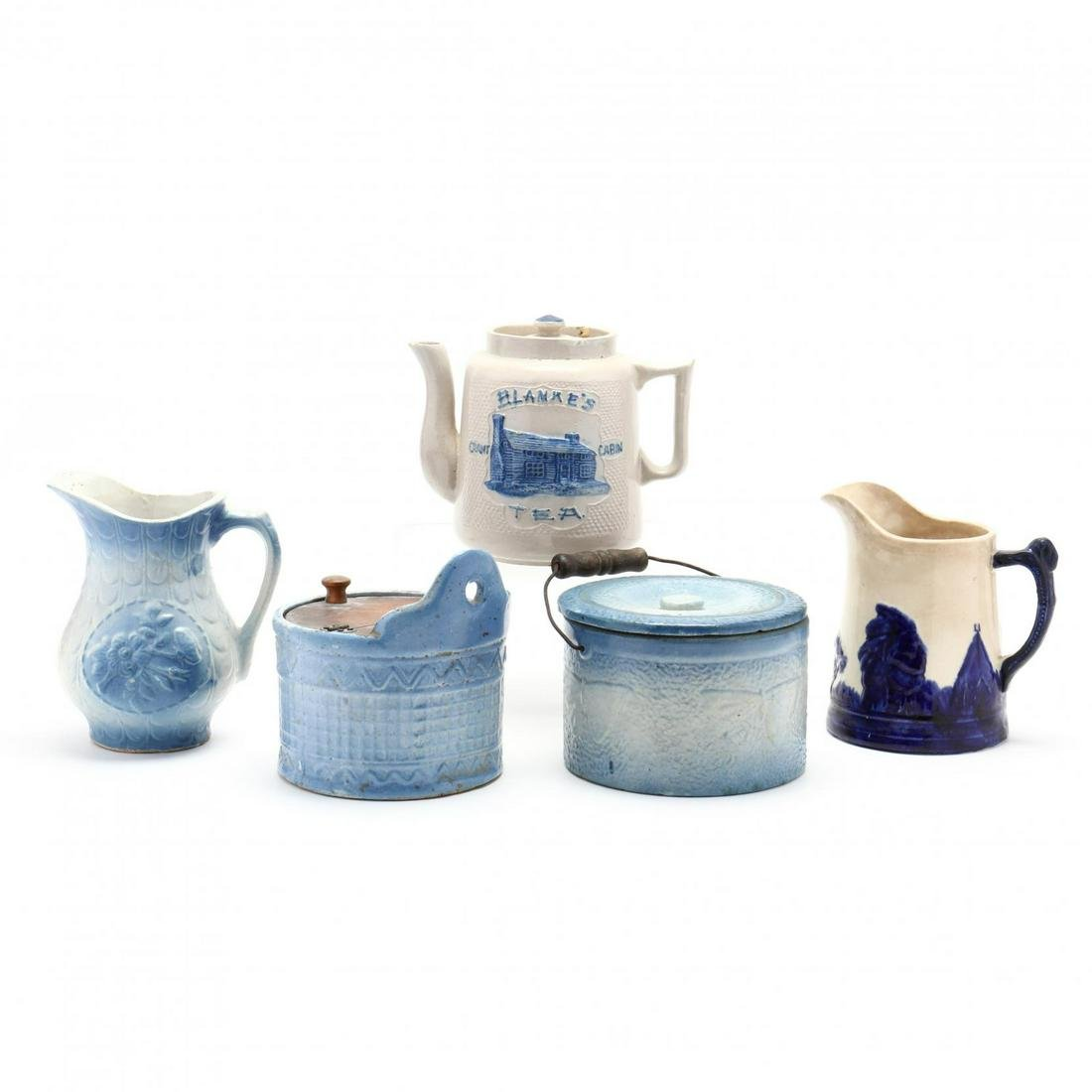 A Group of Five Blue Stoneware Pieces