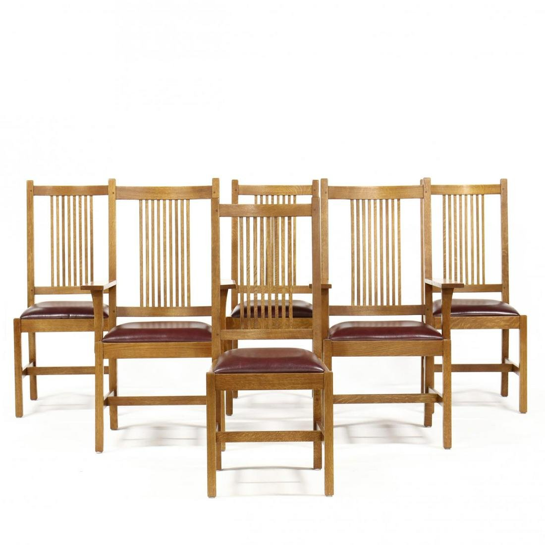 Stickley, Contemporary Mission Oak Set of Six Dining