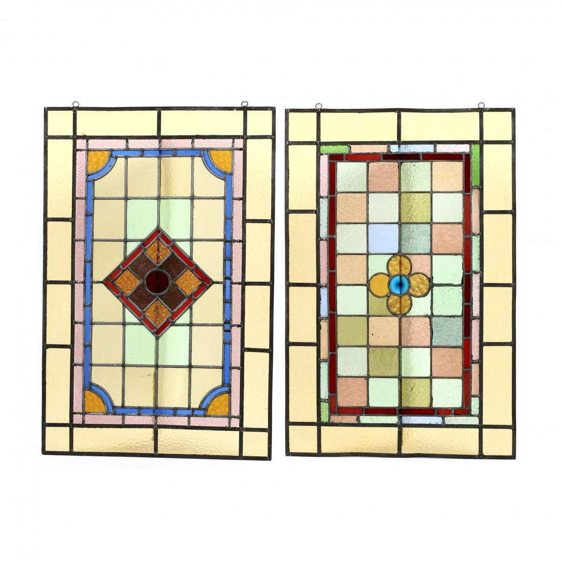 Two Vintage English Stained Glass Window Panels