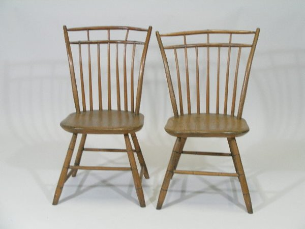 1006: Pair of New England Windsor Side Chairs, Early 19