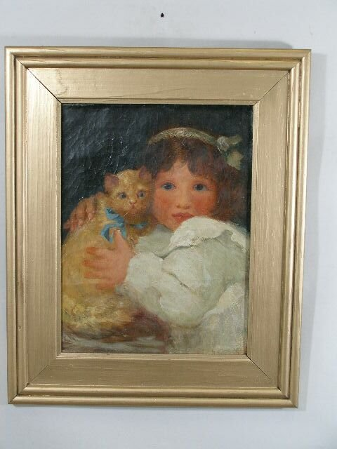 1012: American School, early 20th Young Girl w/Kitten,