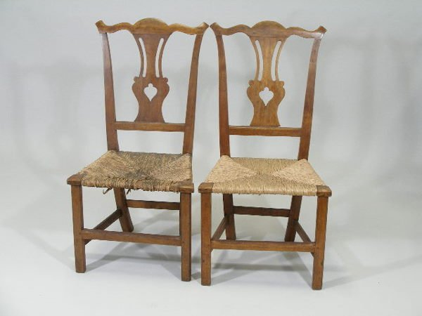 1022: Pair MA Country Chippendale Chairs, 18th c.,