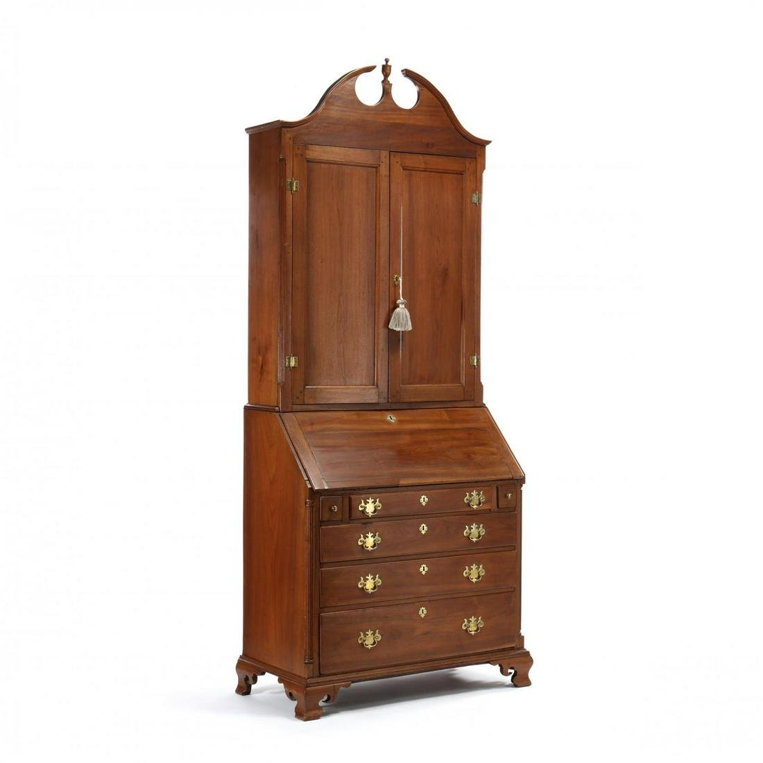 Southern Chippendale Walnut Desk and Bookcase