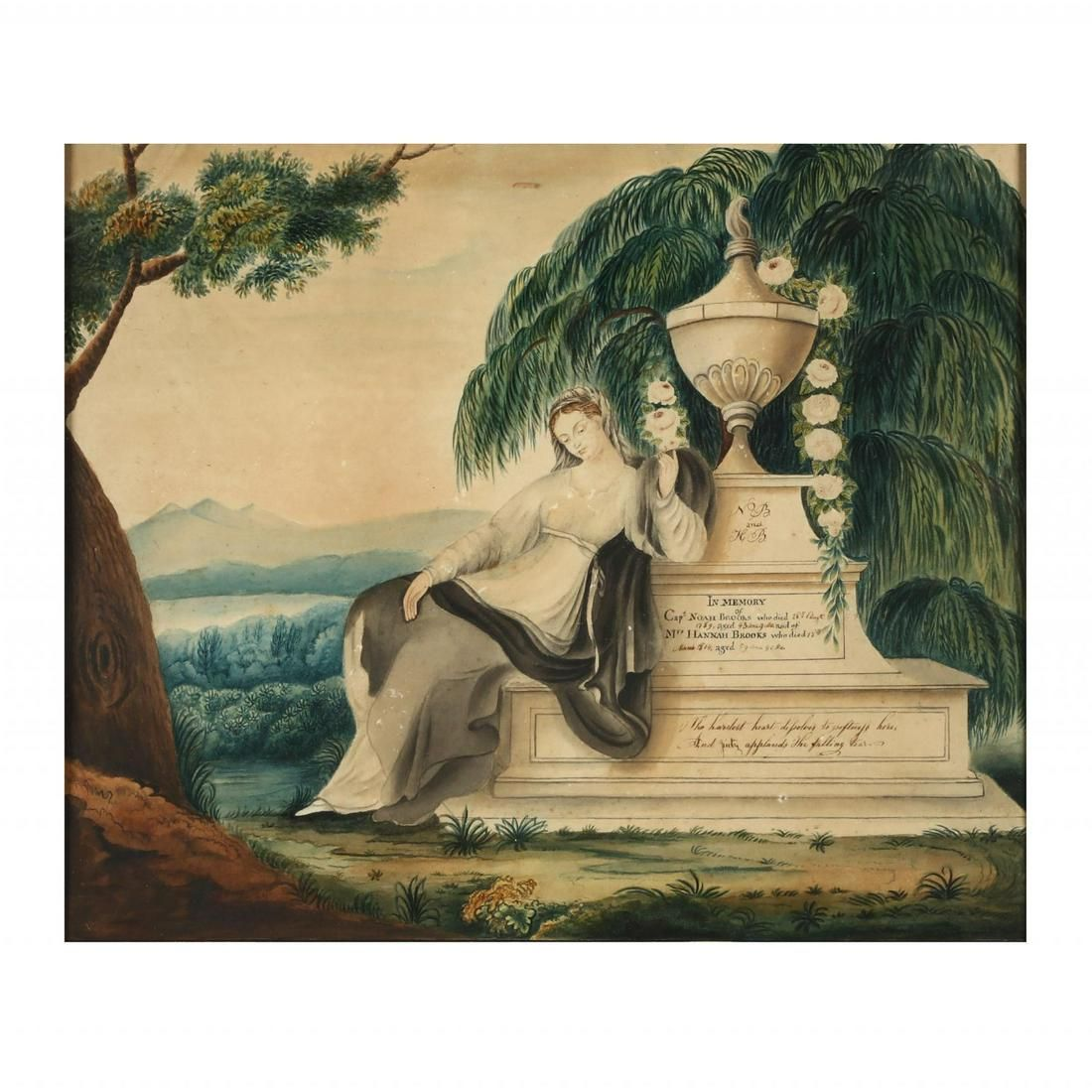 A New England Schoolgirl Watercolor Mourning Picture