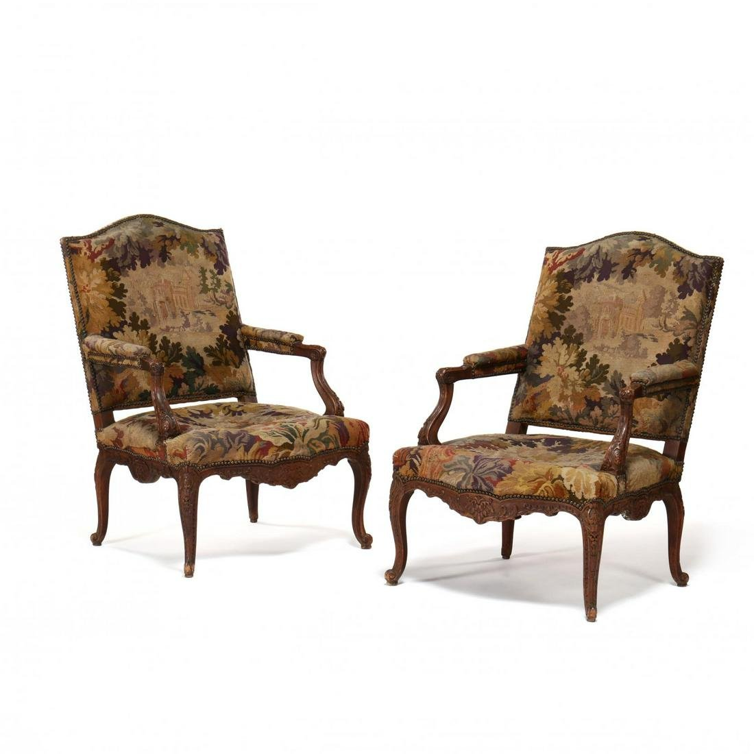 Pair of Antique Louis XV Style Carved Fauteuil