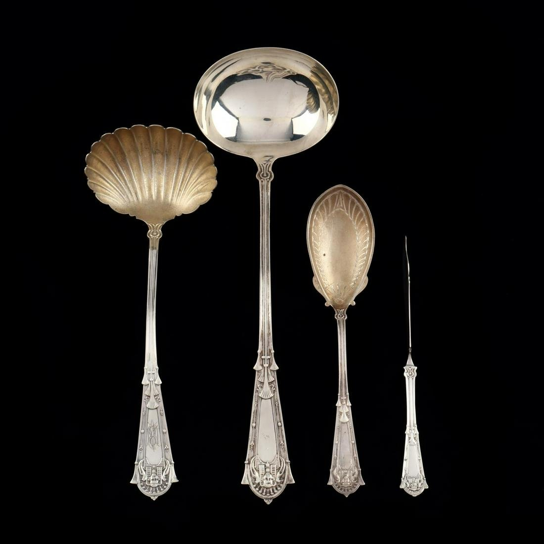 """Four Whiting """"Egyptian"""" Sterling Silver Servers"""