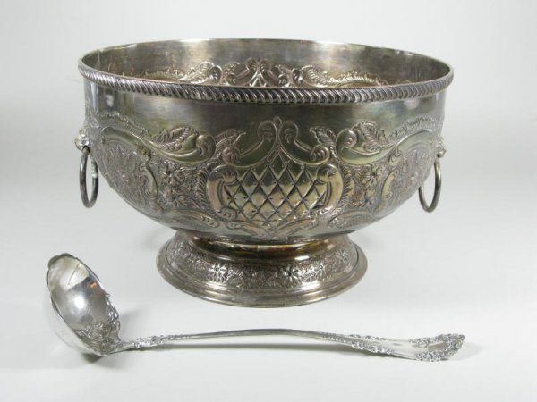 3: Silverplate Punch Bowl & Ladle,