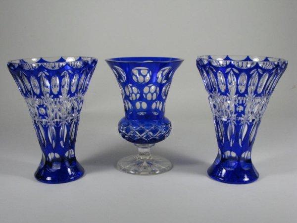 9: Group of Three Lead Crystal Vases,