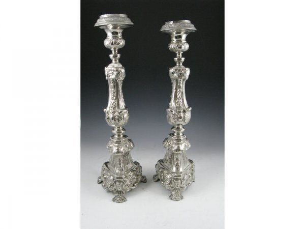 10: Pair of Tall Silverplate Candlesticks, 19th c.,