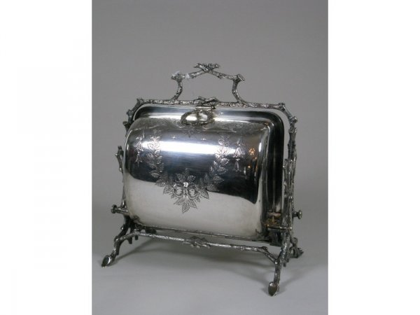 13: Silverplate Biscuit Box, English, late 19th c.,