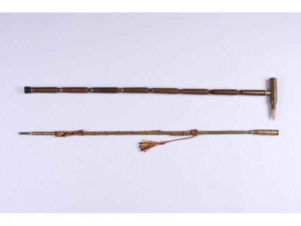1010: Two Trench Folk Art Walking Sticks,