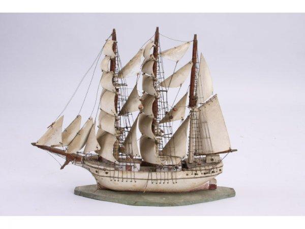 1027: Antique Wooden Tall Ship Model,