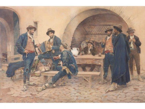 1113: Gustave Simoni (Italian, 1846 - 1926), Taverna,