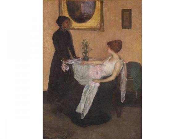 1193: Boston School (ca. 1910), Lady and Servant,
