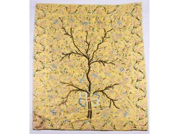 1295: French Silk Embroidered Wall Hanging, ca. 1900,