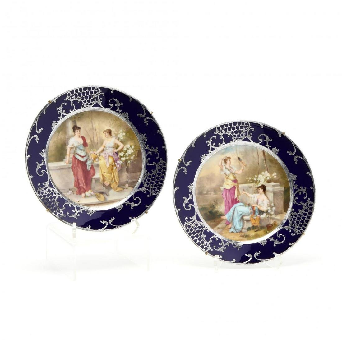 A Rare Pair of Royal Vienna Cabinet Plates with Silver