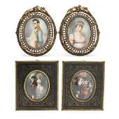 Two Pairs of Continental Portrait Miniatures