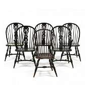 Assembled Set of Six Painted Windsor Chairs