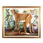 A Large Contemporary Painting of Two Cheetahs