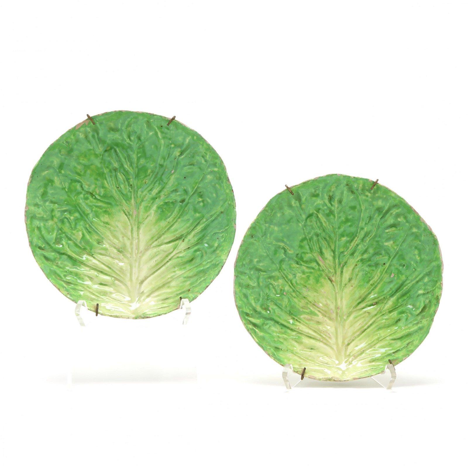 Pair of Antique Majolica Lettuce Plates