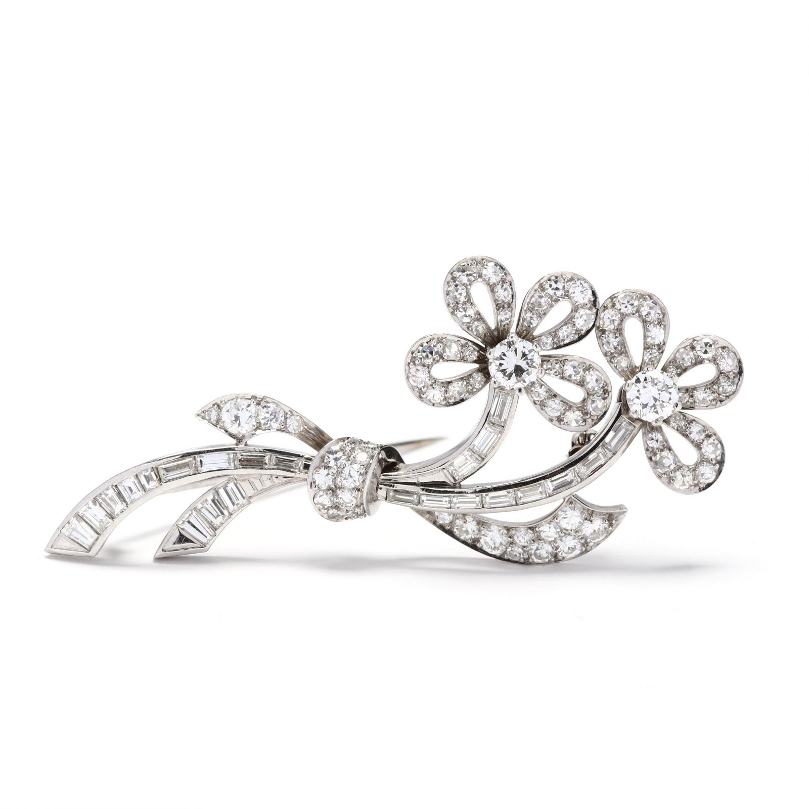 Vintage Platinum and Diamond Floral Spray Brooch