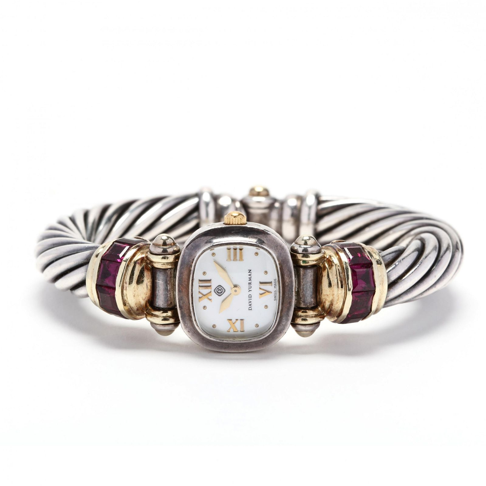 Sterling Silver, 14KT Gold, and Tourmaline Watch, David