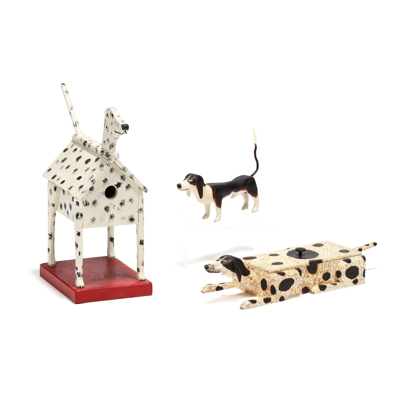 Three Carvings of Dogs, Georgia Folk Art, Roy Minshew,