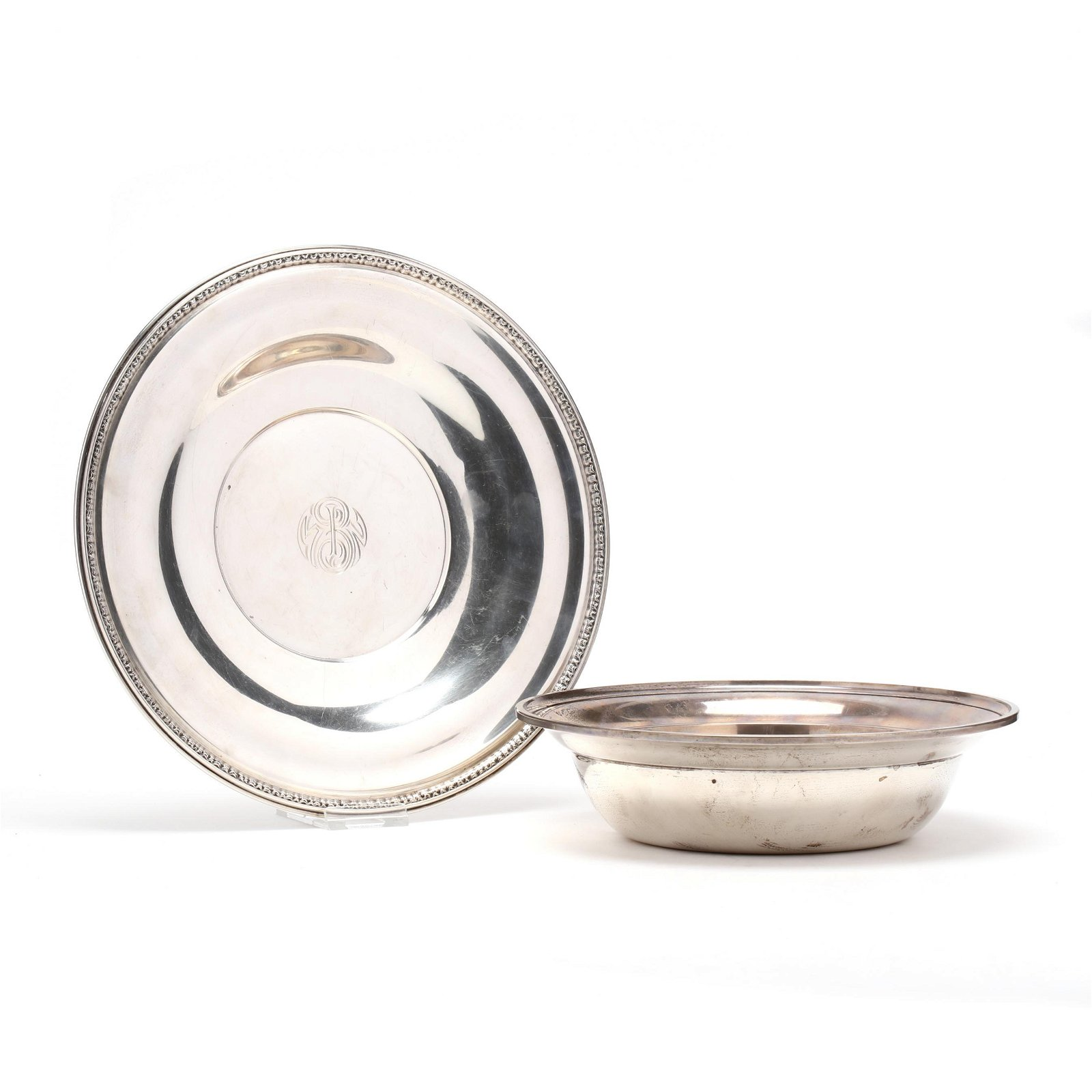 A Sterling Silver Serving Bowl and Cake Plate