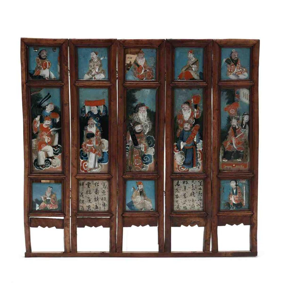 A Chinese Five Panel Table Screen with Export Reverse